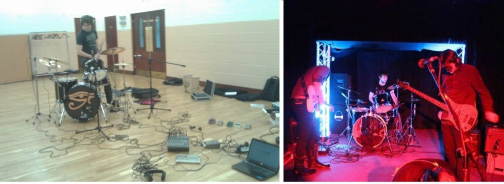 Left: recording the drums for the Lakeview EP Right: live