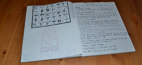 A spread from my notebook - some source material and notes on editing