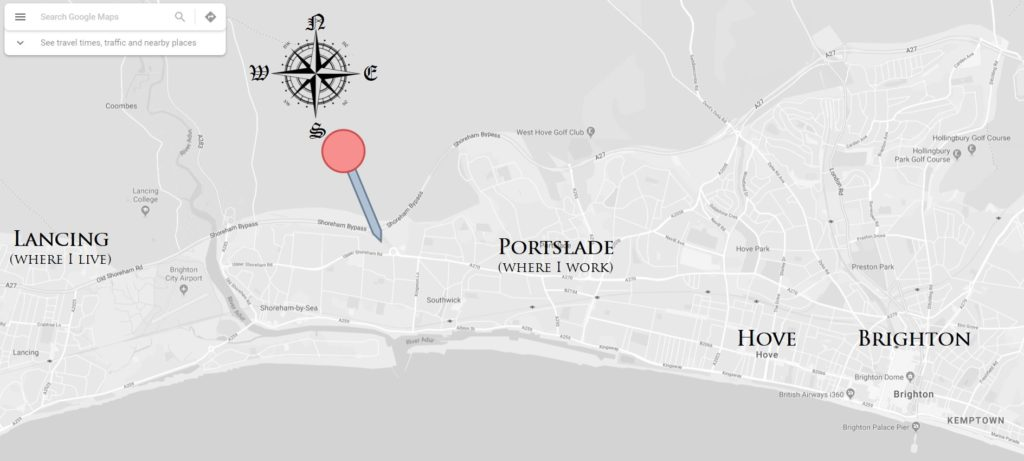 map of brighton and shoreham with mcdonalds
